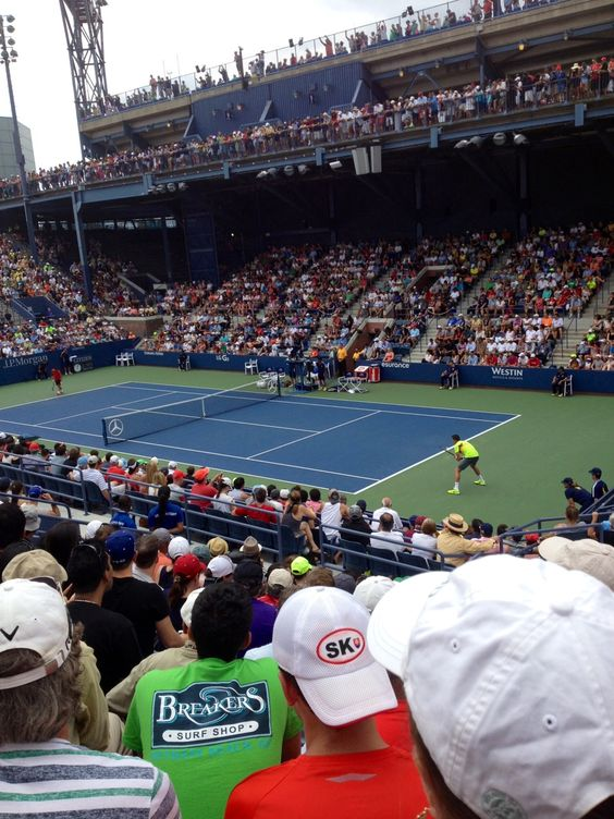 "Grandstand fun! It is our favorite court! Milos Raonic ""Big Serve at 141 mile per hour!"" Defeated Burgos 7-6 7-6 7-6 what a match!"