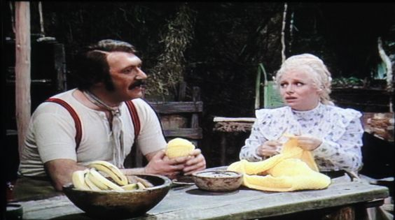 Carry on Laughing - Lamp-posts of the Empire - 1975. Carry On's adaptation of the Doctor Livingstone story with Bernard Bresslaw as Doctor Pavingstone. Barbara Windsor as Lady Mary has taken up his challenge to help him with his knitting.