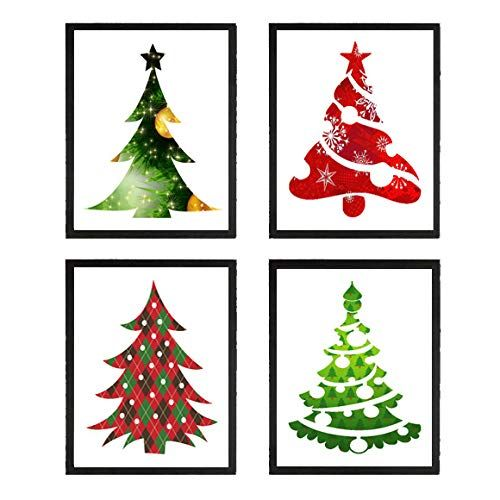 Christmas Tree Art Prints Set Of 4 8x10 Prints Unframed Beautiful Green Red Pine Trees Ornaments Holiday Room Wal In 2020 Christmas Tree Art Tree Art Holiday Room
