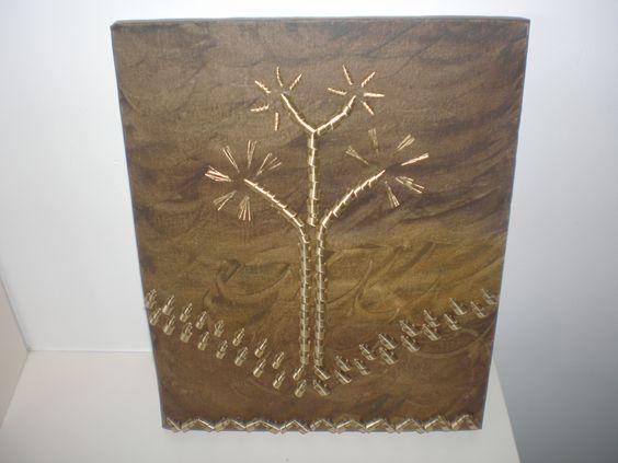 Tela Estudo do Material - óleo sobre tela e latão.  Artista: Jeane Garbi