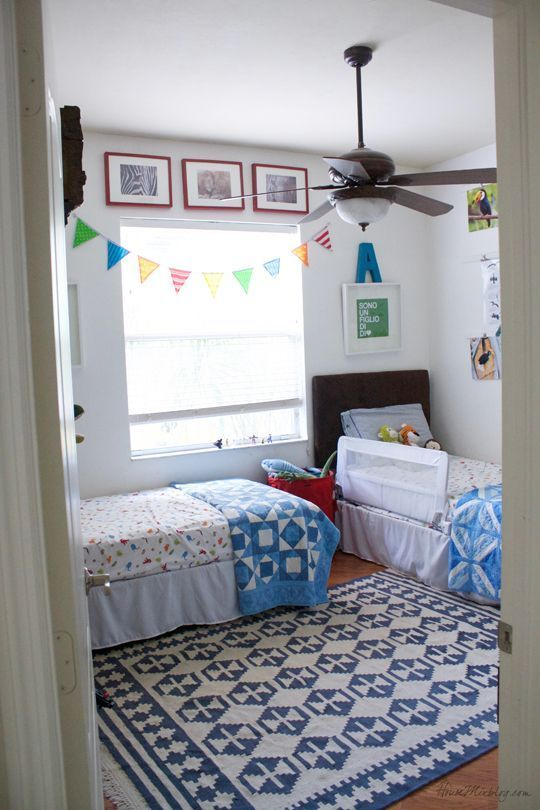 Shared Boys Bedroom With Twin Beds Kids Rooms Shared Boys Shared Bedroom Shared Bedrooms