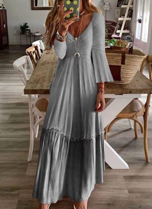 Casual Solid V Neckline Maxi X Line Dress Floryday Casual Dresses Maxi Dress Long Sleeve Maxi