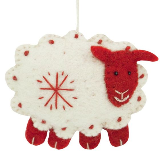 With wool full of red and white, this sheep will make a baa-utiful addition to your holiday decor.: