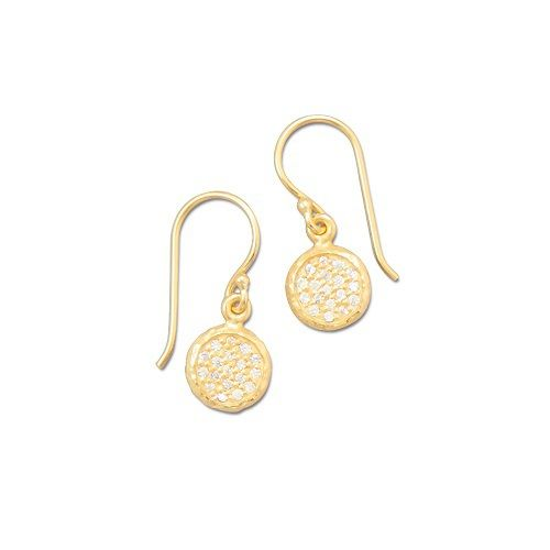 These 14K gold plated 925 sterling silver earrings are comprised of discs that are paved with cubic zirconia stones.