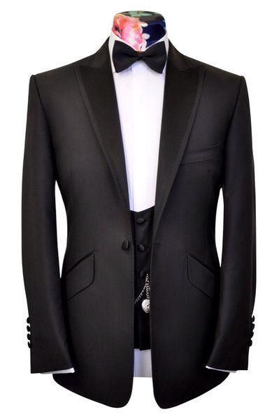The Ashmore Classic Black in Striped Ground Weave by William Hunt #eveningwear #menswear