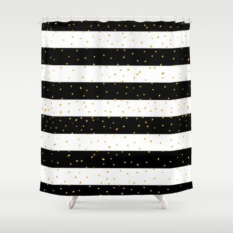 Black White Gold Faux Glitter Stripes Polka Dots Shower Curtain By