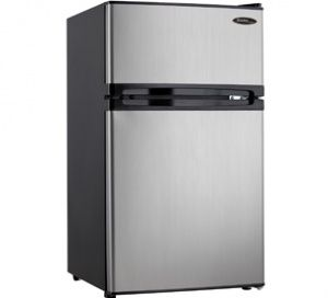 DCR031B1BSLDD:   Having separate fridge and freezer units is definitely the way to go these days. You get that convenient combination and much more with this splendid dual-door compact refrigerator by Danby. This model offers 3.1 cu. ft. (87 L) of cooling and freezing capacity and is Energy-Star compliant to help keep electricity costs as low as possible. The popular appliance is a perfect match for apartments, rec-rooms, bars, cottages and offices. It has a high-tech mechanical thermostat…