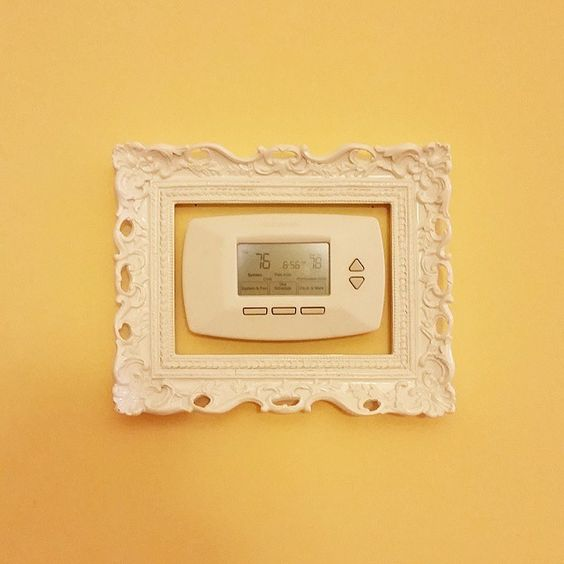Our thermostat just got 10° cooler!  #homesweethome #diy #hobbylobby #frameit