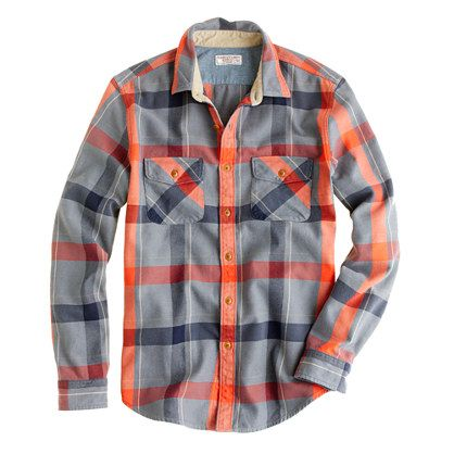 Wallace & Barnes heavyweight flannel shirt in faded plaid