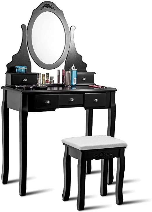 Colibrox Gt Vanity Jewelry Wooden Makeup Dressing Table Set W Stool Mirror Amp 5 Drawers B In 2020 Dressing Table Set Dressing Table With Stool Makeup Dressing Table