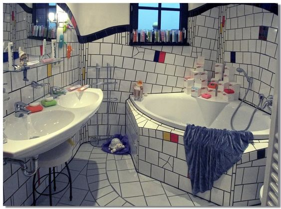 magdeburg hundertwasser haus badezimmer bath room. Black Bedroom Furniture Sets. Home Design Ideas