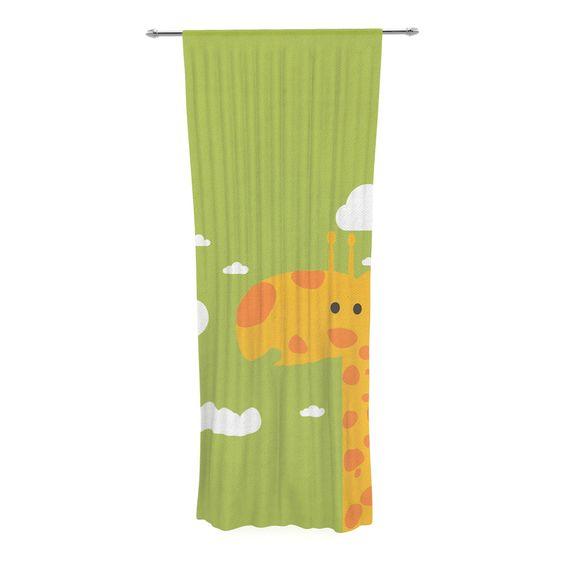 """Strawberringo """"Baby Giraffe"""" Green Yellow Decorative Sheer Curtain"""