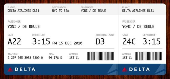 Flight ticket redesigned The Terminal Pinterest Boarding - fake airline ticket maker