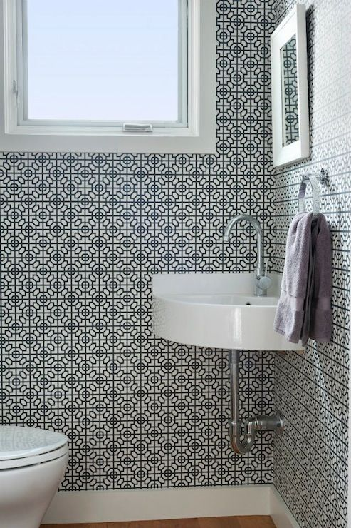 Images Photos Pinney Designs bathrooms Sussex Wallpaper in Black and White pact powder room small powder room black and white wallpaper graphic