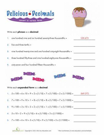 math worksheet : expanded form decimal and worksheets on pinterest : Decimals Into Fractions Worksheet