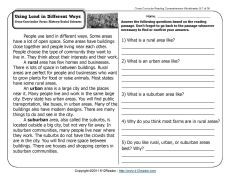 Printables History Reading Comprehension Worksheets using land in different ways comprehension week 7 reading a short passage and related questions about rural urban suburban communities cross curricular focus