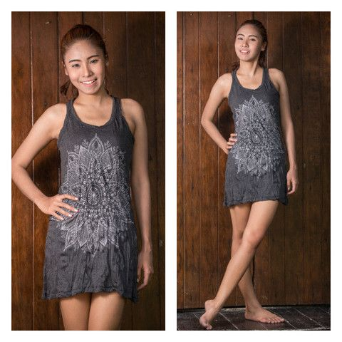 Sure Design Womens Lotus Mandala Tank Dress Silver on Black | Sure Design