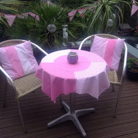 Co ordinating hand made cushion covers and table cloth