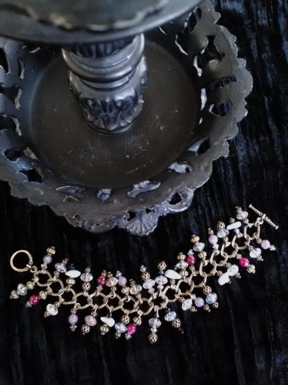 Retro 60s Style Bracelet Larimar by RomanticJeweledCreat on Etsy, $34.99