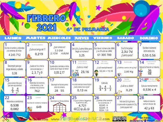Calendario Sexto ABN – Febrero 2021
