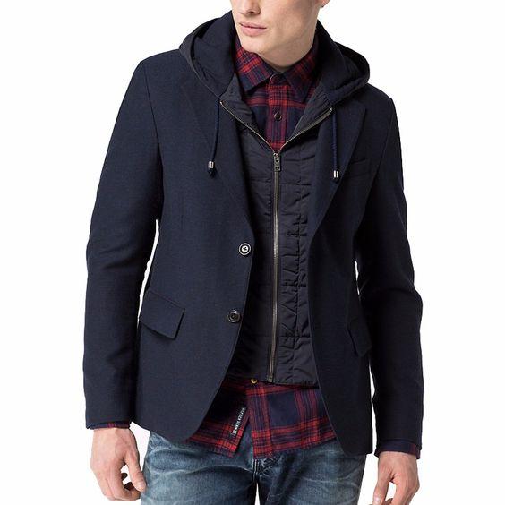 Manteau Tommy Hilfiger coupe blazer Homme modèle Jerry bleu marine