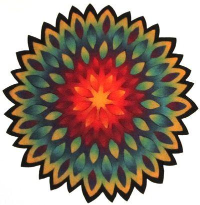 Blütenmandala Merinowolle 80x80