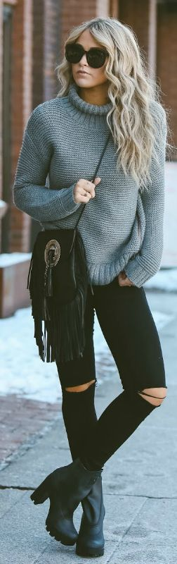 #winter #outfits #fashion knitted turtleneck sweater + jeans + Cara Loren + chunky platform ankle boots + tasselled cross body bag Via Just The Design. Sweater: Lululemon, Jeans: Urban Outfitters, Shoes: Shopbop.: