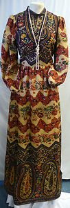 Bernard Freres Vintage Maxi Dress - Wool Fabric by Liberty of London  - Size 12