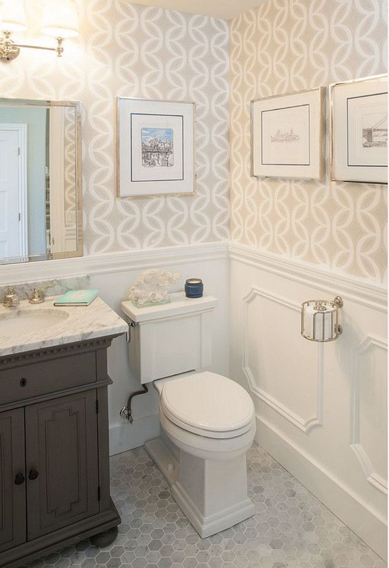 Bathroom Hex Floor. Bathroom Marble Hex Flooring. #Bathroom #Marble #HexFlooring AGK Design Studio.