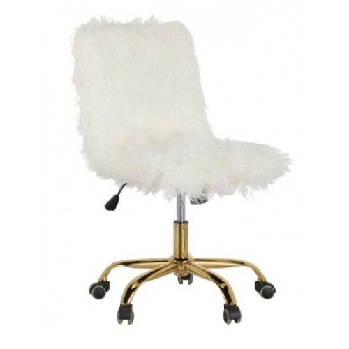 Sheepskin Covered Gold Base Swivel Office Chair Most Comfortable Office Chair Swivel Office Chair Luxury Chairs