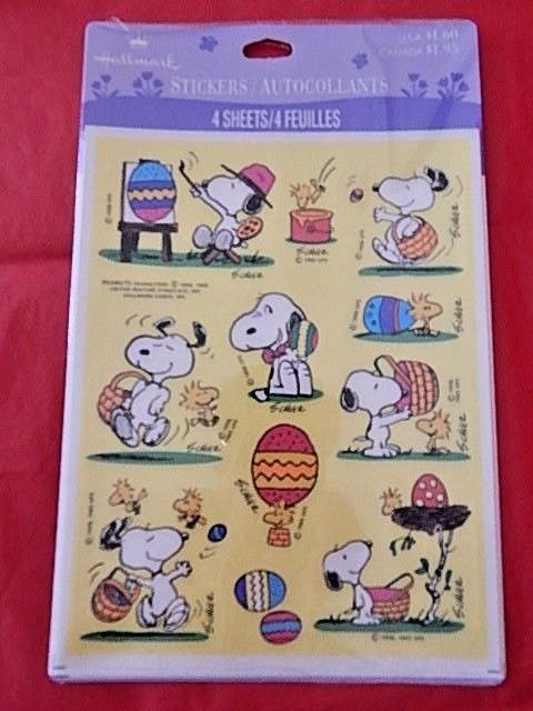Easter Snoopy Peanuts Vintage New Sealed Pack Hallmark Stickers Paper Art Crafts