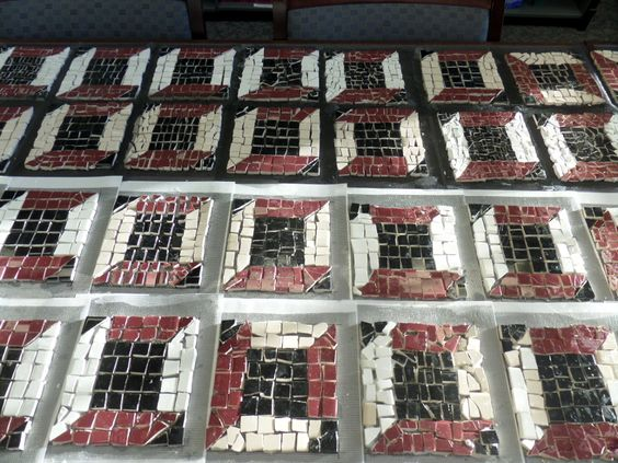 Each person contributes one individual mosaic to the project.