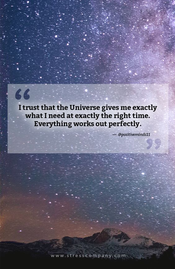 I trust that the Universe gives me exactly what I need at exactly the right time. Everything works out perfectly. #afirmations #positiveaffirmations #inspirationalquotes #motivationalquotes #quotes #TheStressCompany #stressaway #stressless