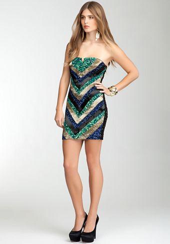 Chevron Beaded Strapless Dress - bebe Addiction