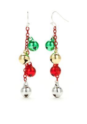 Kim Rogers  Silver-Tone Jingle Bells Drop Earrings
