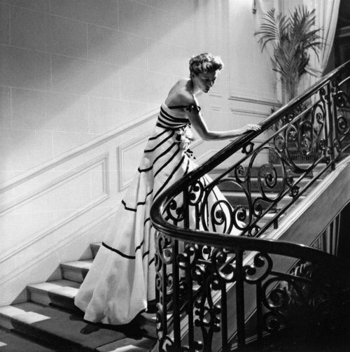 Model wearing a gown by Dior, 1950.