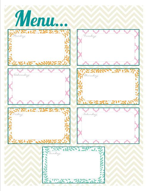 Printable menu, Weekly menu and Free printable on Pinterest