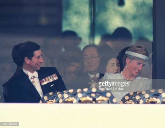 Charles, Prince of Wales (L) and Diana Princess of Wales, attend the Japanese Emperor Akihito enthronement ceremony at the Imperial Palace on November 12, 1990 in Tokyo, Japan.