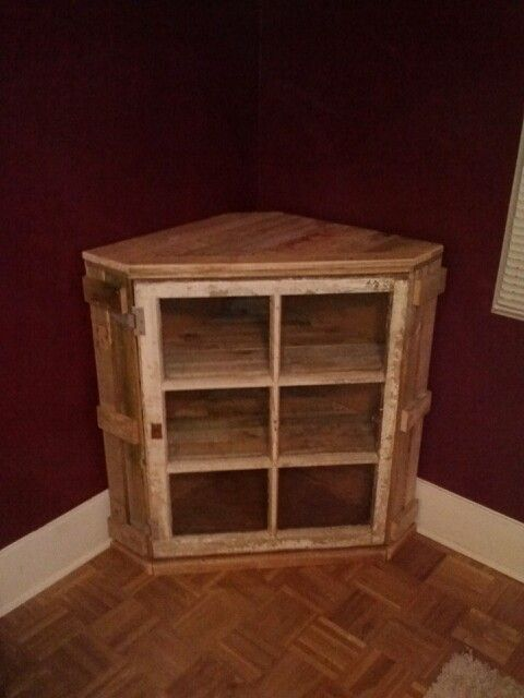 latest project completed corner cabinet made from pallet wood and an antique window antique unique pallet ideas