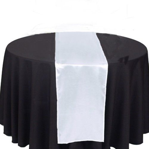 """OurWarm White Satin Table Runner 12""""x 108"""" (Inch) Wedding Party Table Decoration by OurWarm. $4.20. Table Decoration. Appro. 12""""x108"""". Satin Table Runner. Iron the Table Runner Look Much Better. There are Beautiful Satin Table Runner. These are made of high quality shimmering satin and can be used as chair bows or table runners. These are a gorgeous color!! Edges are sewn to form an elegant look when tied into bow form or Table Runner. Smooth, silky-satin table runners ..."""