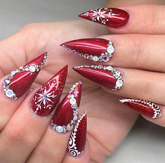 50 Christmas Red Stiletto Nail Art Ideas Easy Designs For Holiday Nails Red Stiletto Nails Christmas Nail Designs Christmas Nails