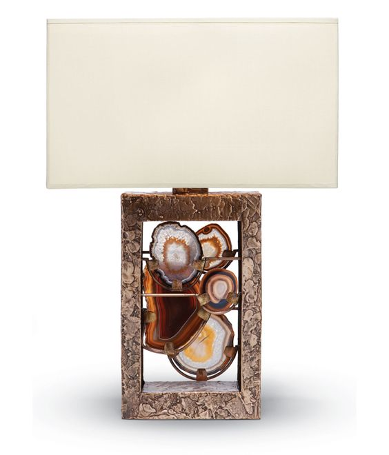 Rock Star. Add a touch of refined elegance with a handmade cast bronze agate table lamp designed by California– based duo Tuell and Reynolds. Green Home #Decor