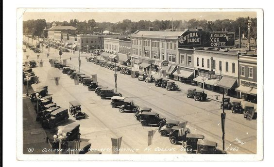 Ft Collins Colorado view of College Ave business district real photo pc (Z2853)