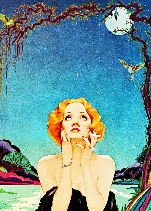 Marlene Dietrich, en la concepción, ni más ni menos que del virtuoso peruano, Alberto Vargas (c. 1930s).