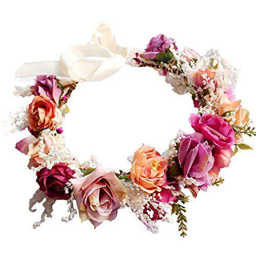 Yazilind Strass Rouge Bandeau Floral Femmes Fleur Couronne Demoiselle dhonneur mari/ée Fleur Fille Accessoires pour Cheveux