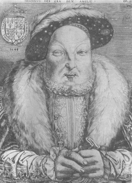 Engraving of Henry VIII not long before his death at age 56. (He was married to Catherine Parr, his sixth and last wife.)