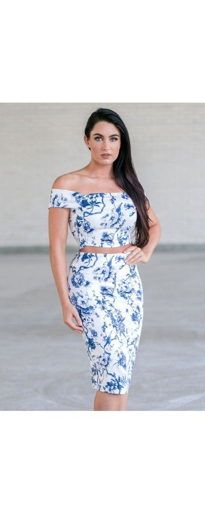 Lily Boutique French Film Blue Floral Two Piece Set, $35 Blue and White Floral Print Two Piece Outfit, Cute Blue and White Juniors Summer Outfit www.lilyboutique.com