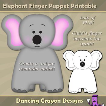 explore com elephant clipart elephant and more finger puppets puppets ...