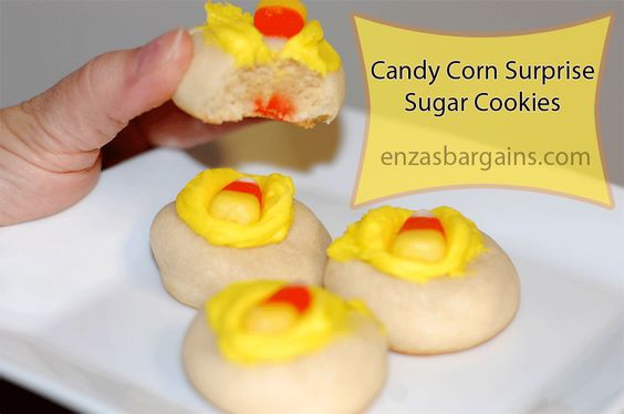 Candy Corn Surprise Sugar Cookies!  VERY yummy and easy!  Way faster than cookie cutters, icing, etc.  Great for Thanksgiving and Halloween!