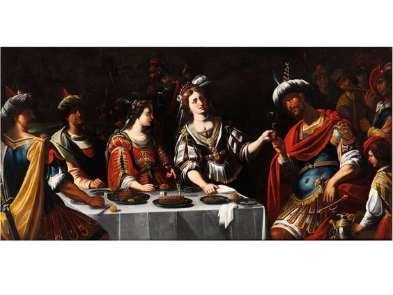 BANKETT DER KLEOPATRA Öl auf Leinwand. 88 x 180 cm. Das vorliegende Gemälde orientiert sich an den Hauptwerken der Künstler von Siena zu Beginn des 17....